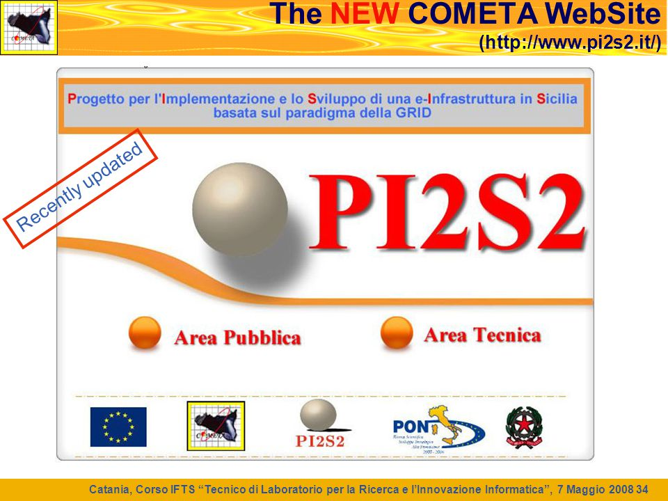 The NEW COMETA WebSite (http://www.pi2s2.it/)