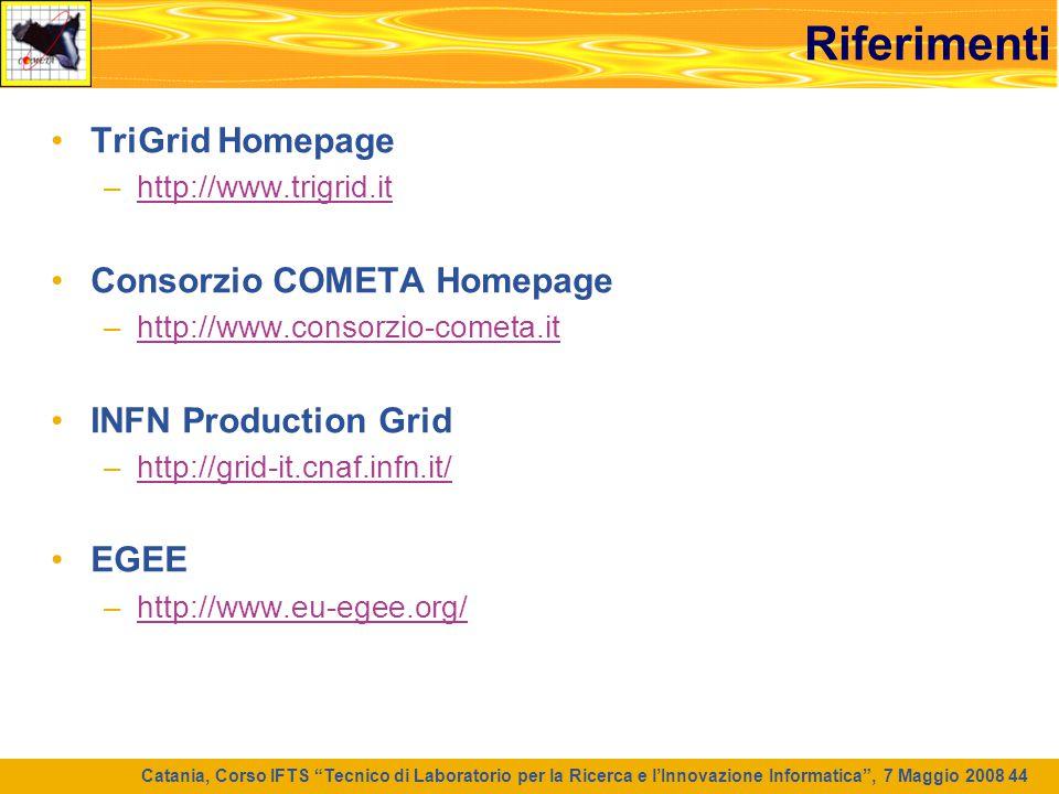 Riferimenti TriGrid Homepage Consorzio COMETA Homepage