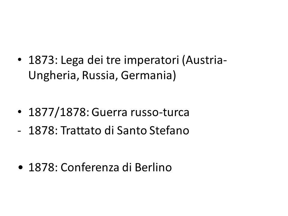 1873: Lega dei tre imperatori (Austria-Ungheria, Russia, Germania)