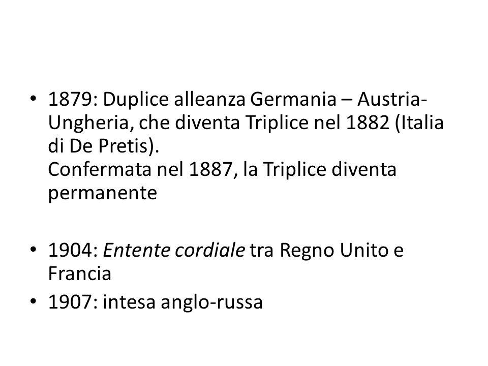 1879: Duplice alleanza Germania – Austria-Ungheria, che diventa Triplice nel 1882 (Italia di De Pretis). Confermata nel 1887, la Triplice diventa permanente