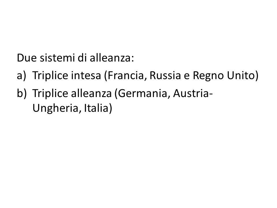 Due sistemi di alleanza: