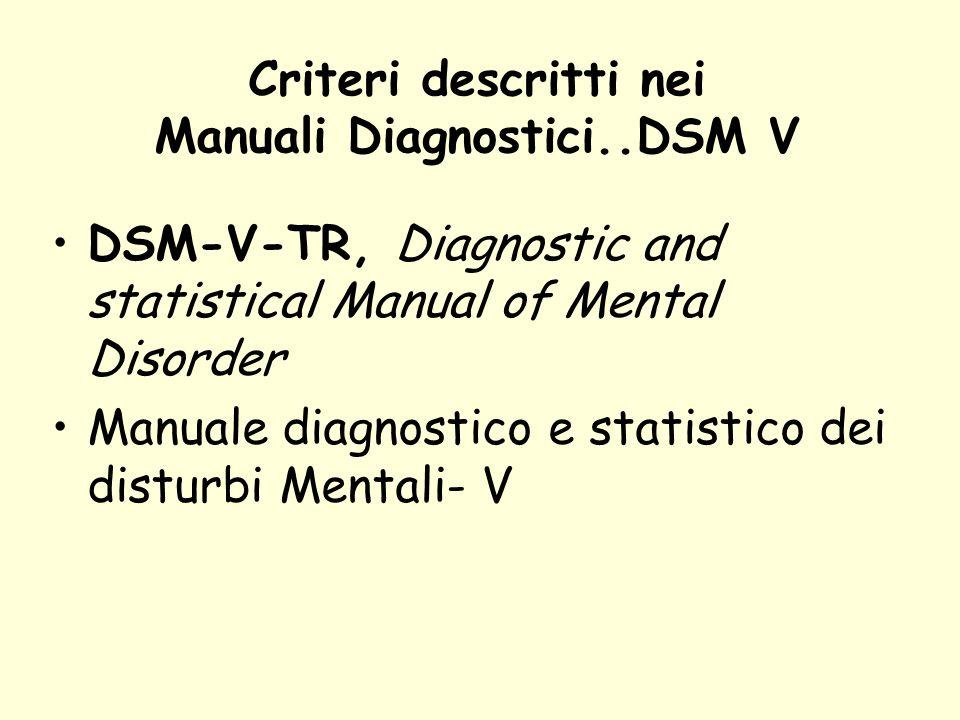 Criteri descritti nei Manuali Diagnostici..DSM V