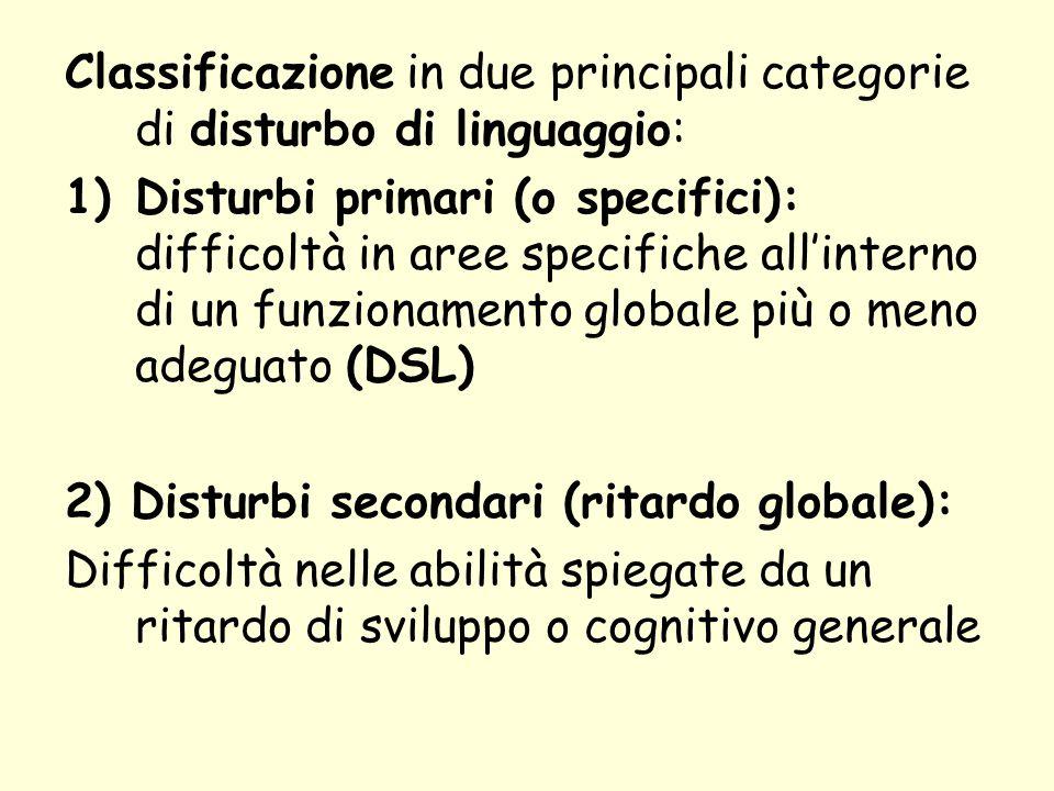 Classificazione in due principali categorie di disturbo di linguaggio: