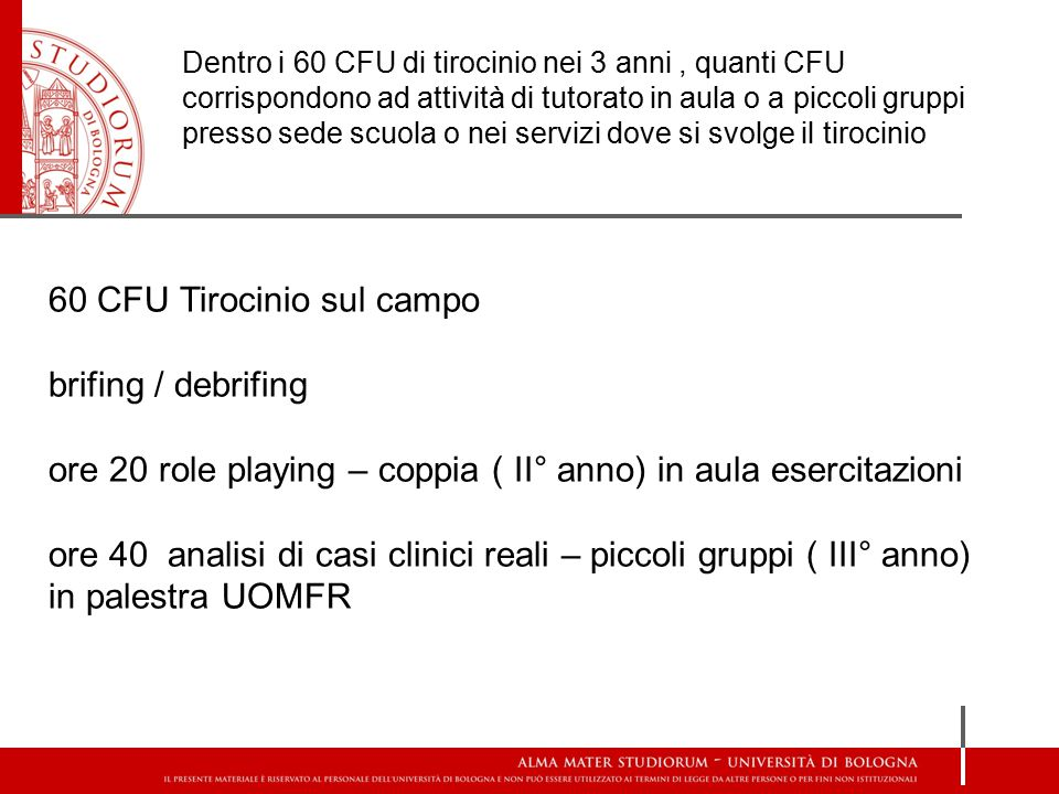 60 CFU Tirocinio sul campo brifing / debrifing