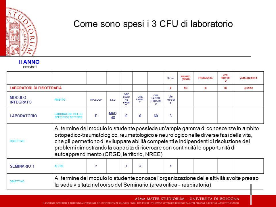 Come sono spesi i 3 CFU di laboratorio