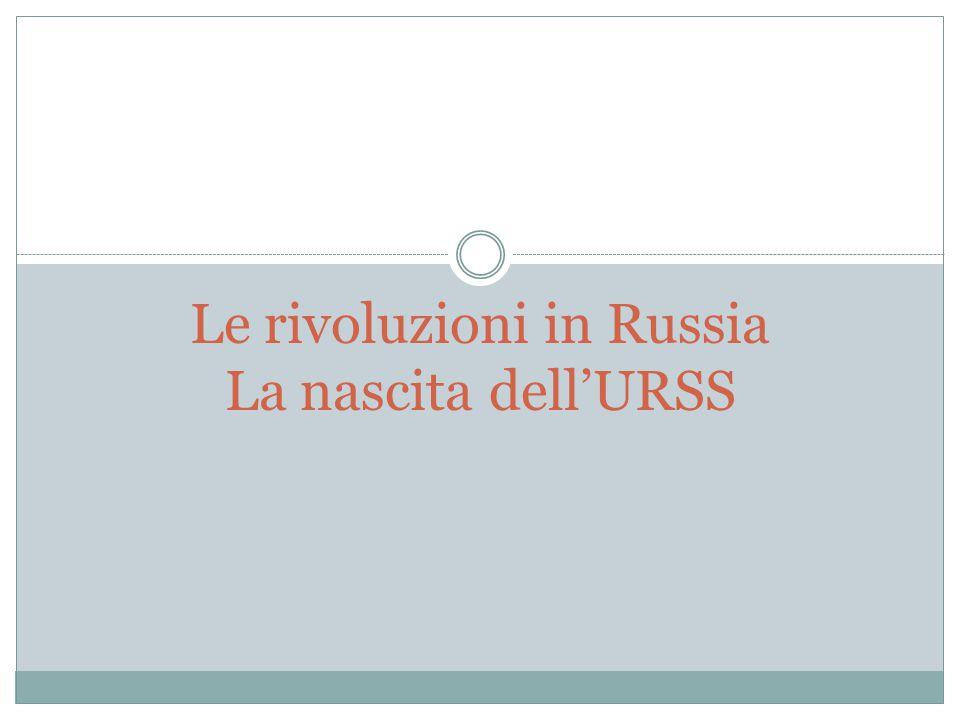 Le rivoluzioni in Russia La nascita dell'URSS