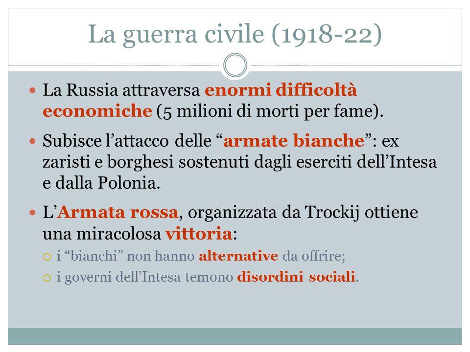 La guerra civile (1918-22) La Russia attraversa enormi difficoltà economiche (5 milioni di morti per fame).