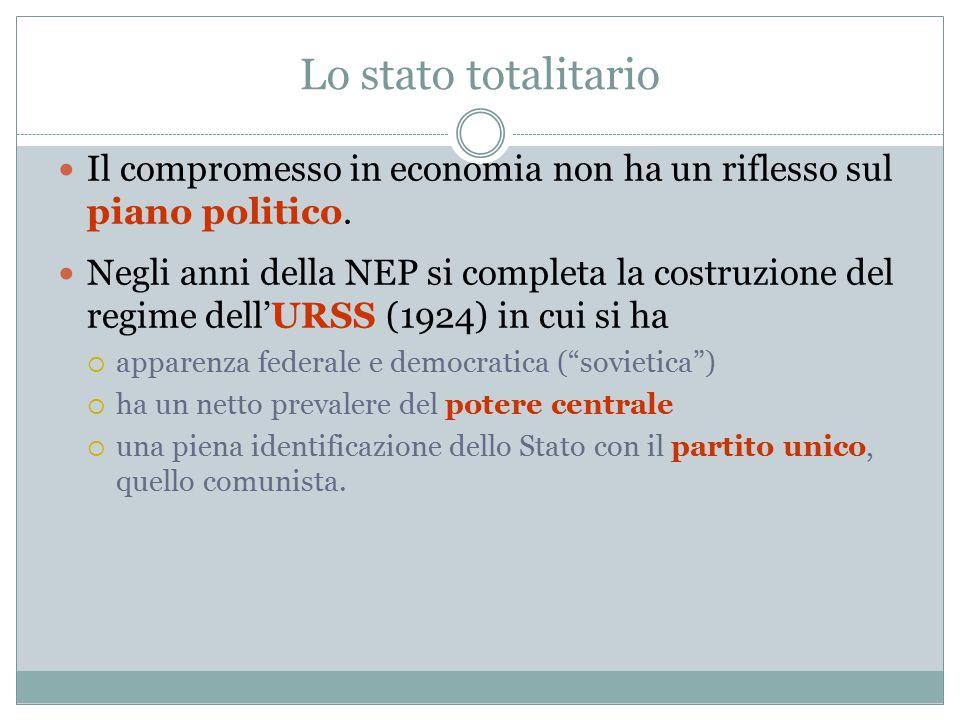Lo stato totalitario Il compromesso in economia non ha un riflesso sul piano politico.