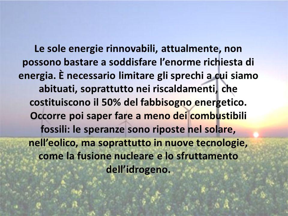 Le sole energie rinnovabili, attualmente, non possono bastare a soddisfare l'enorme richiesta di energia.