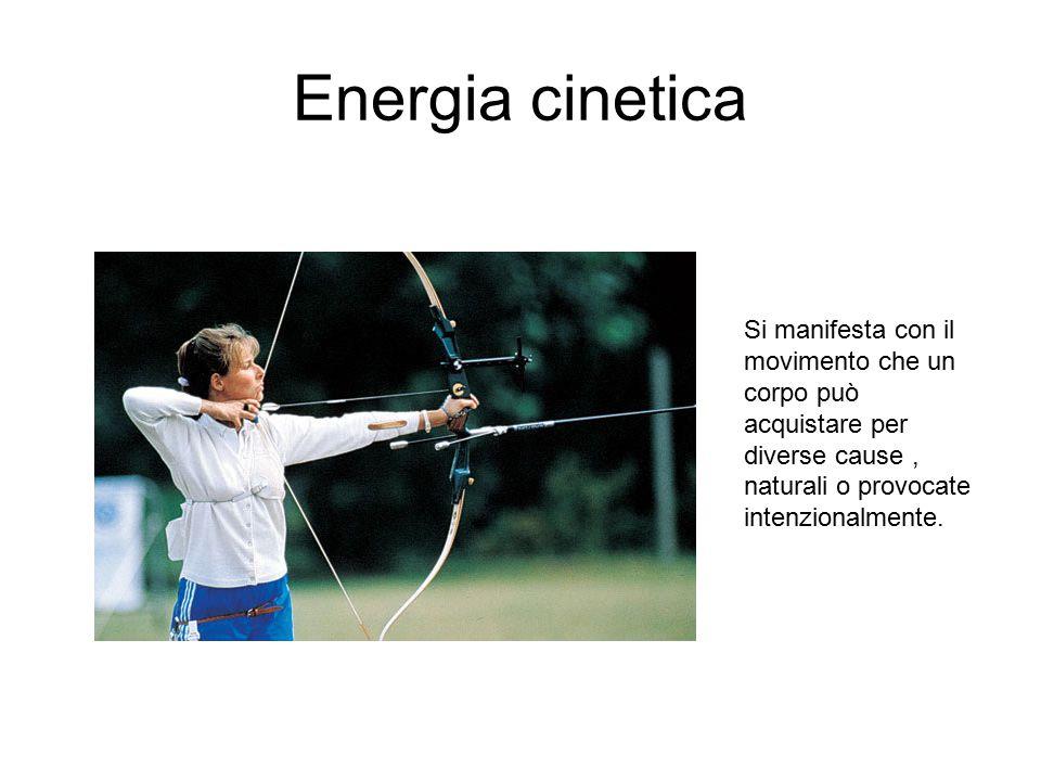 Energia cinetica Si manifesta con il movimento che un corpo può acquistare per diverse cause , naturali o provocate intenzionalmente.