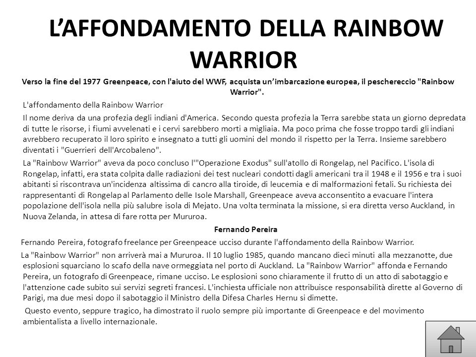 L'AFFONDAMENTO DELLA RAINBOW WARRIOR