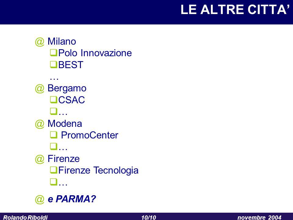 LE ALTRE CITTA' Milano Polo Innovazione BEST … Bergamo CSAC Modena