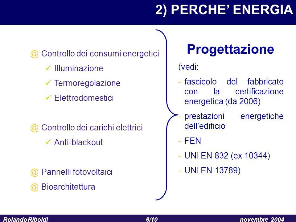 2) PERCHE' ENERGIA Progettazione Controllo dei consumi energetici