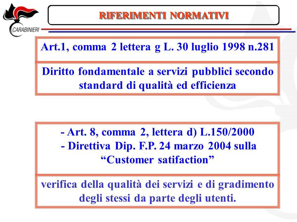 Art.1, comma 2 lettera g L. 30 luglio 1998 n.281