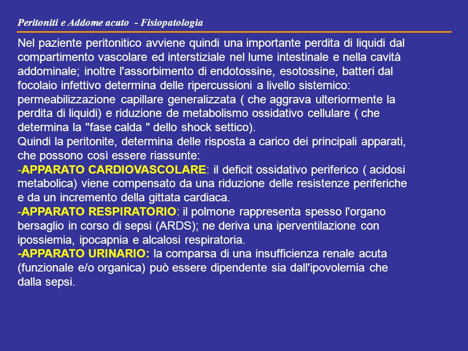 Peritoniti e Addome acuto - Fisiopatologia