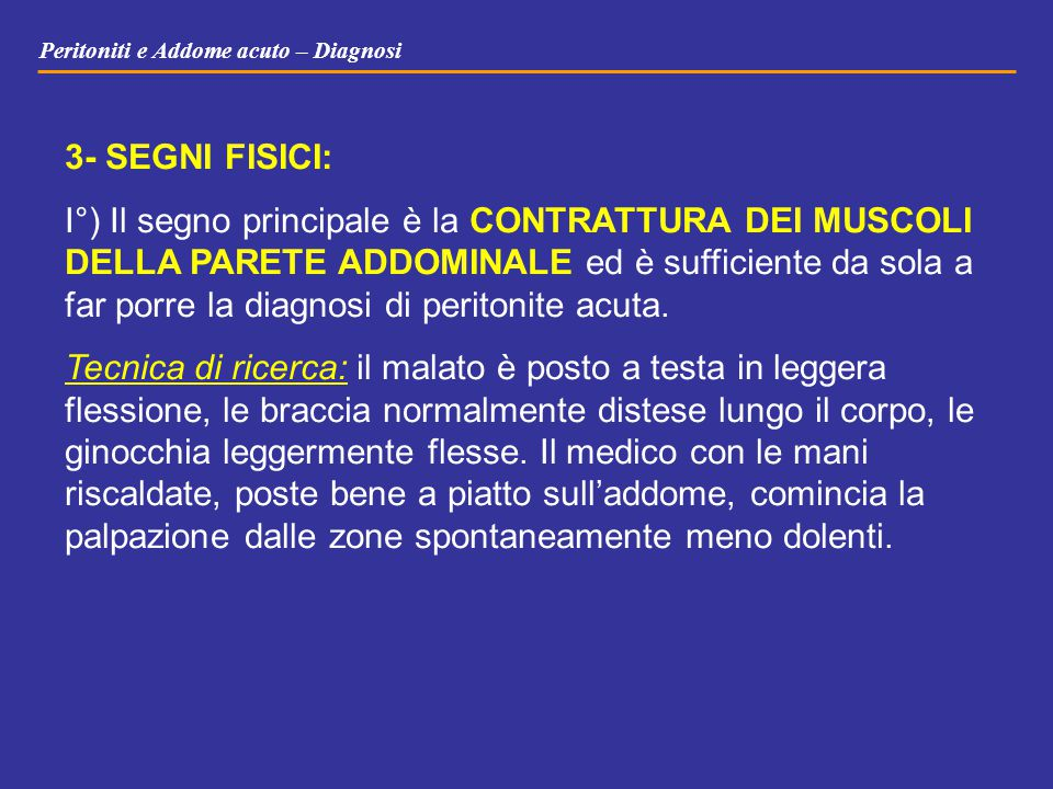 Peritoniti e Addome acuto – Diagnosi