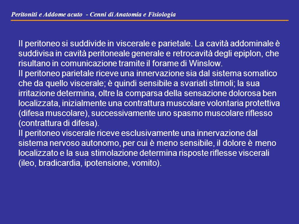 Peritoniti e Addome acuto - Cenni di Anatomia e Fisiologia