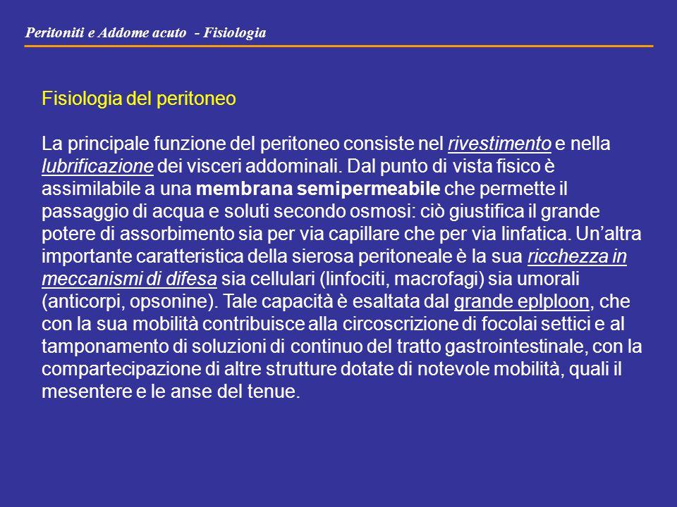 Peritoniti e Addome acuto - Fisiologia