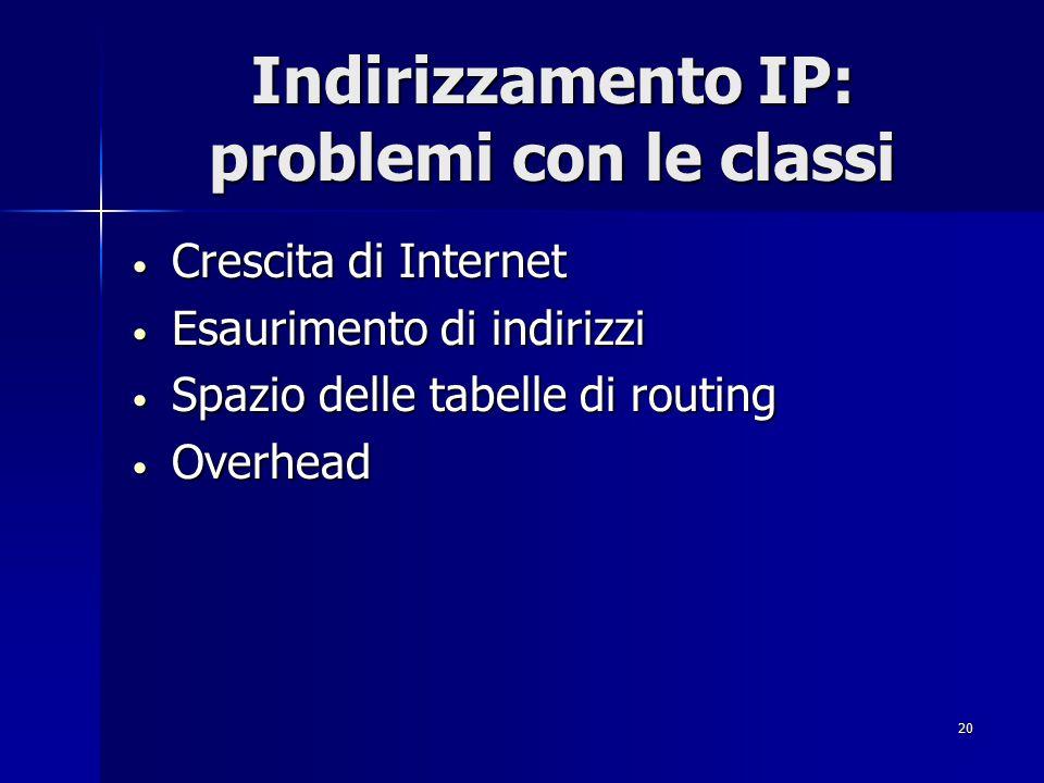 Indirizzamento IP: problemi con le classi
