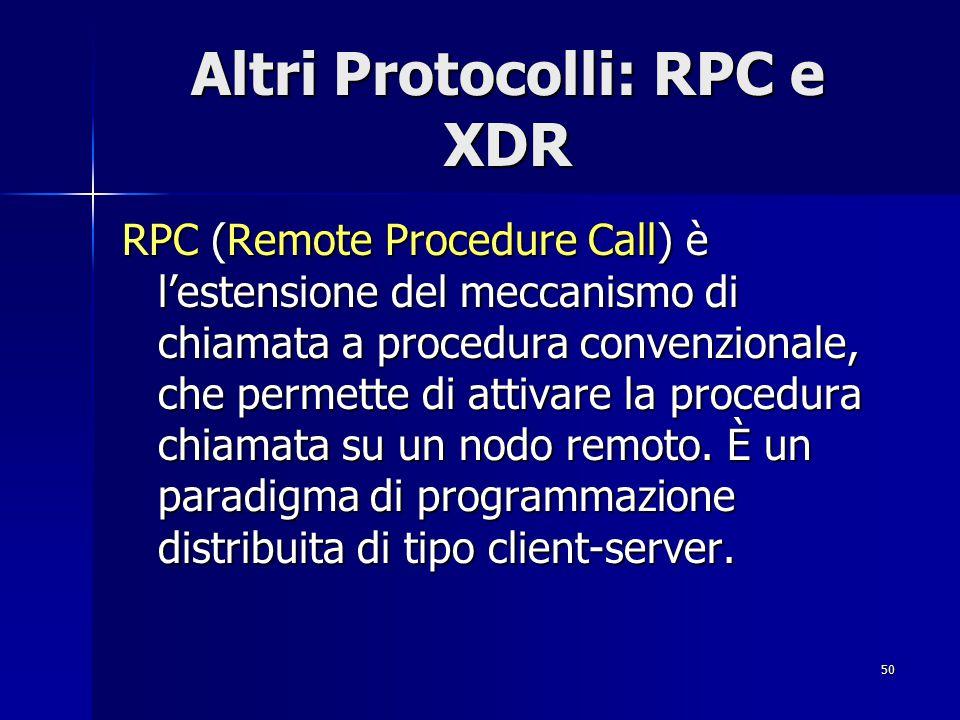 Altri Protocolli: RPC e XDR