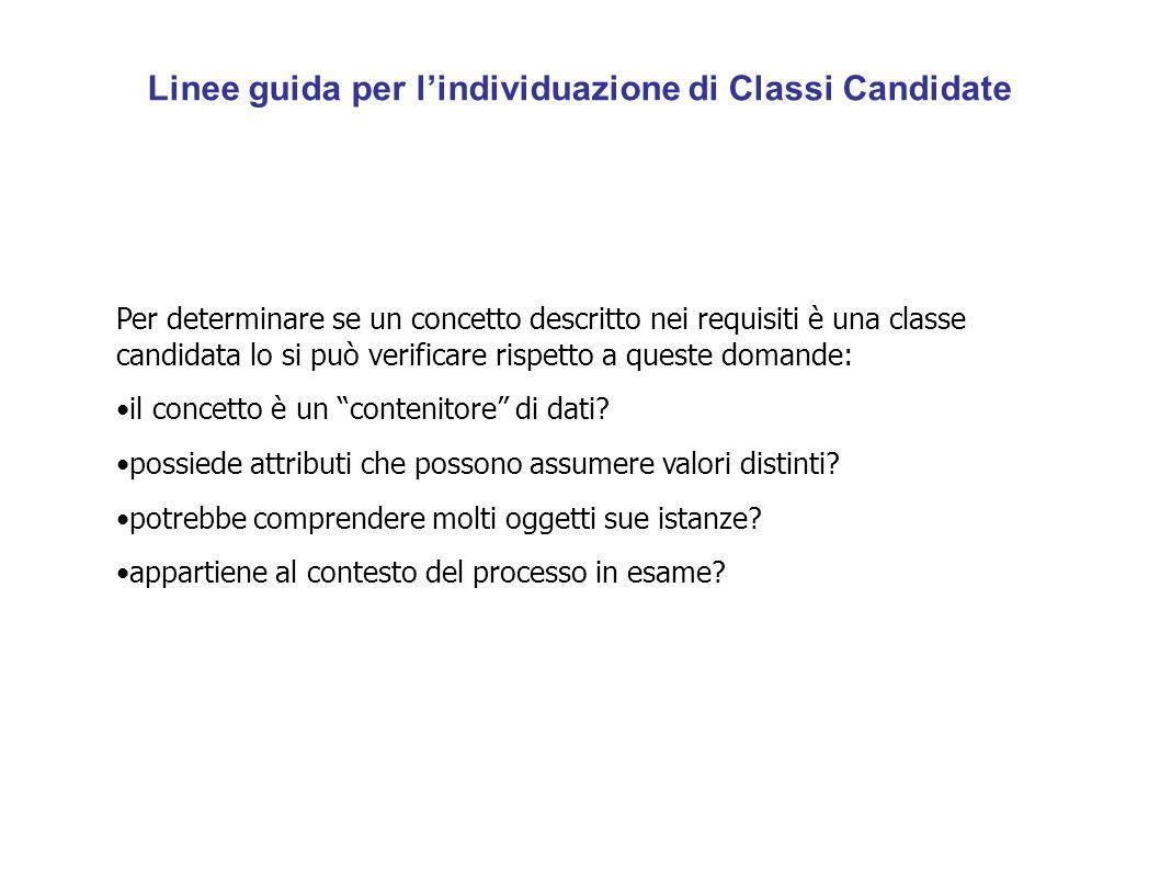 Linee guida per l'individuazione di Classi Candidate