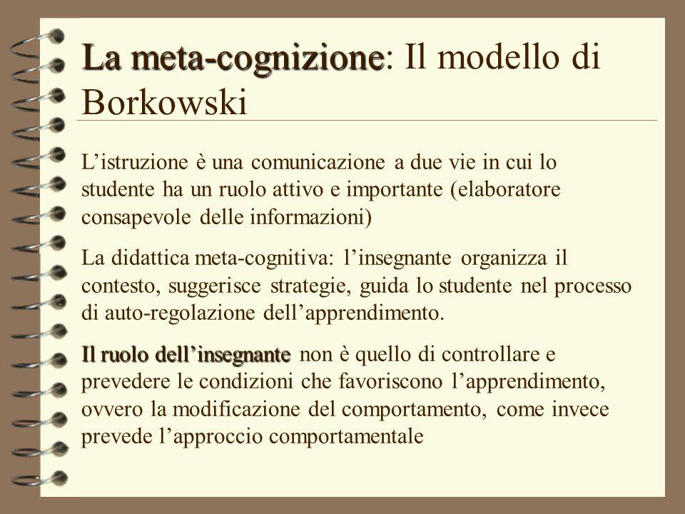 La meta-cognizione: Il modello di Borkowski