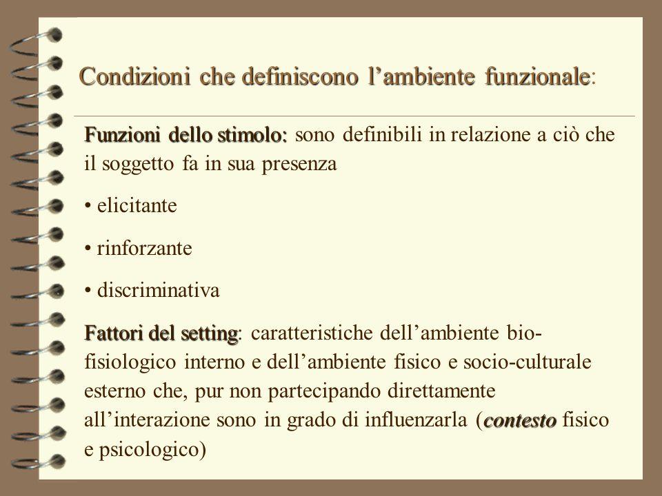 Condizioni che definiscono l'ambiente funzionale: