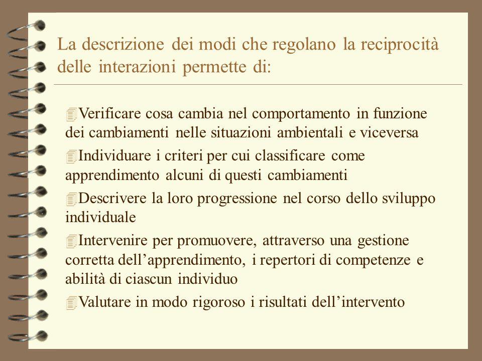 La descrizione dei modi che regolano la reciprocità delle interazioni permette di: