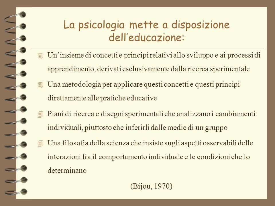 La psicologia mette a disposizione dell'educazione: