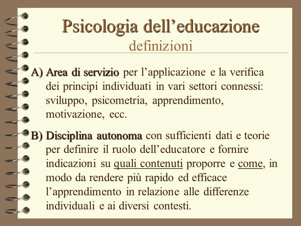 Psicologia dell'educazione definizioni