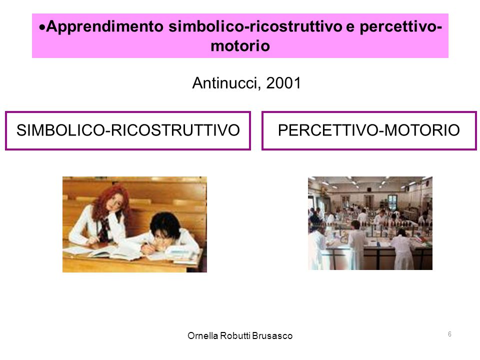 Apprendimento simbolico-ricostruttivo e percettivo-motorio