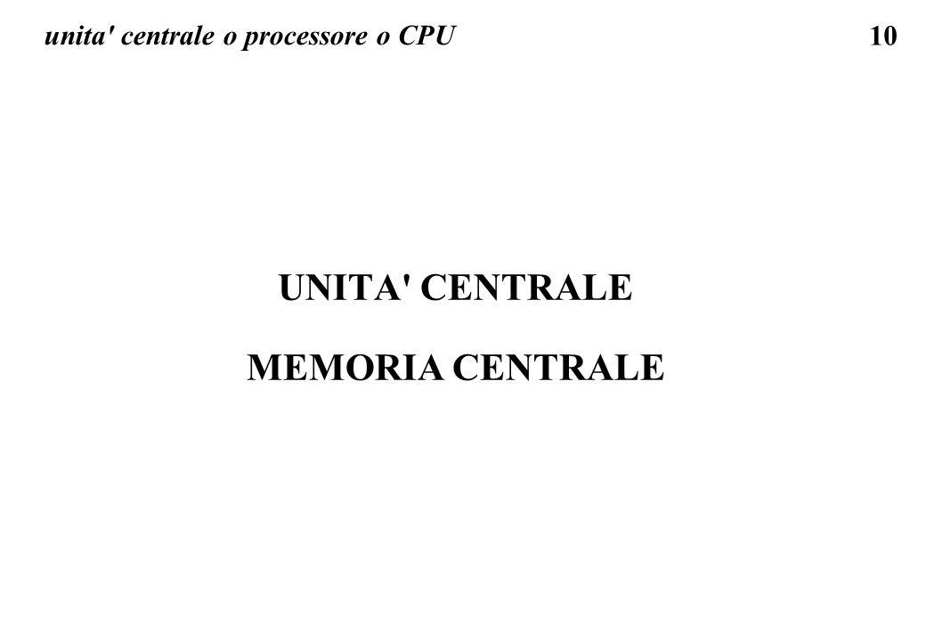 unita centrale o processore o CPU