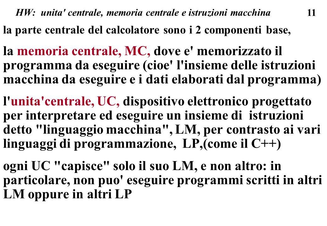 HW: unita centrale, memoria centrale e istruzioni macchina