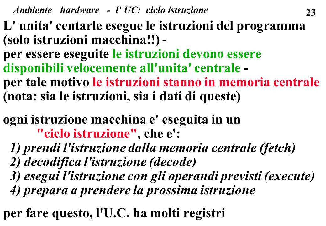 Ambiente hardware - l UC: ciclo istruzione