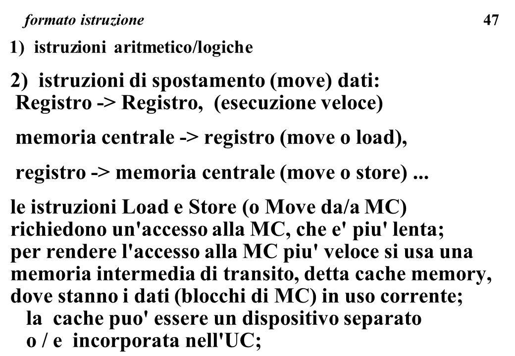 2) istruzioni di spostamento (move) dati: