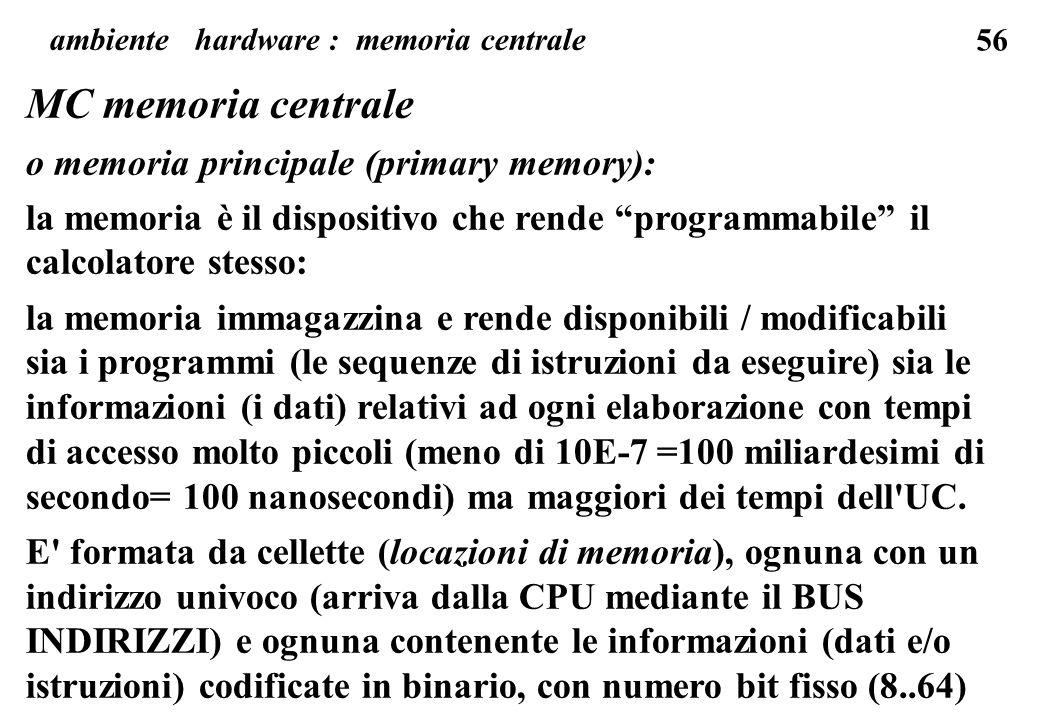 ambiente hardware : memoria centrale