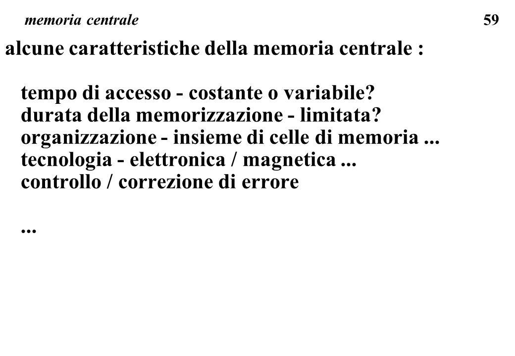 alcune caratteristiche della memoria centrale :