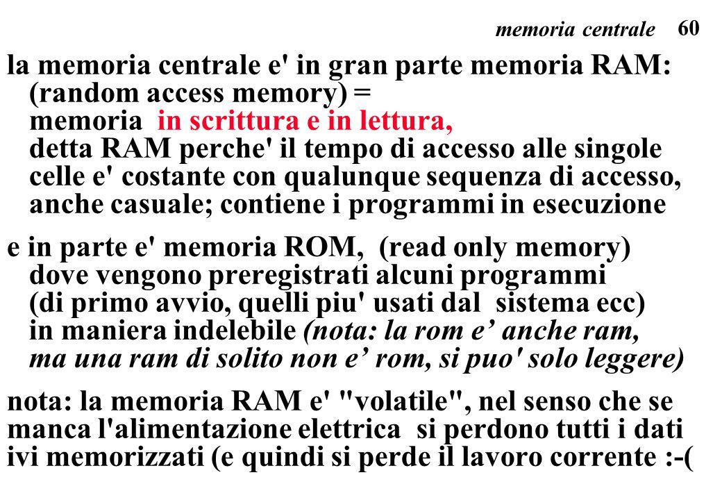 la memoria centrale e in gran parte memoria RAM: