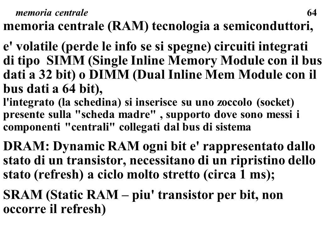memoria centrale (RAM) tecnologia a semiconduttori,