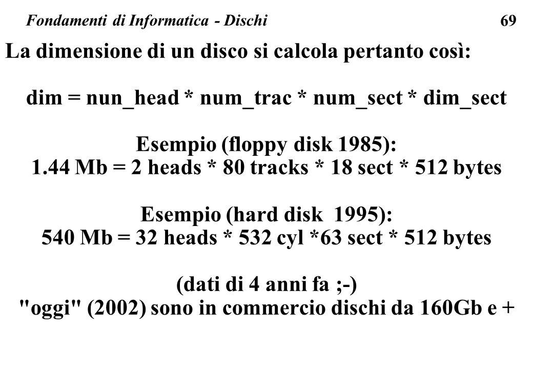 Fondamenti di Informatica - Dischi