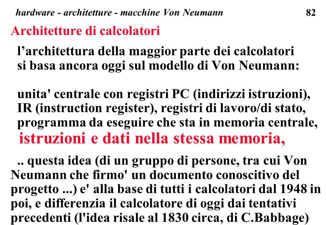 hardware - architetture - macchine Von Neumann