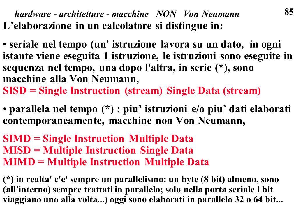 hardware - architetture - macchine NON Von Neumann