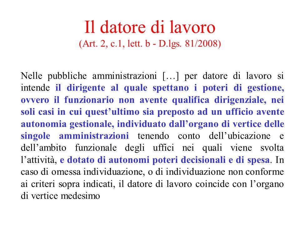 Il datore di lavoro (Art. 2, c.1, lett. b - D.lgs. 81/2008)