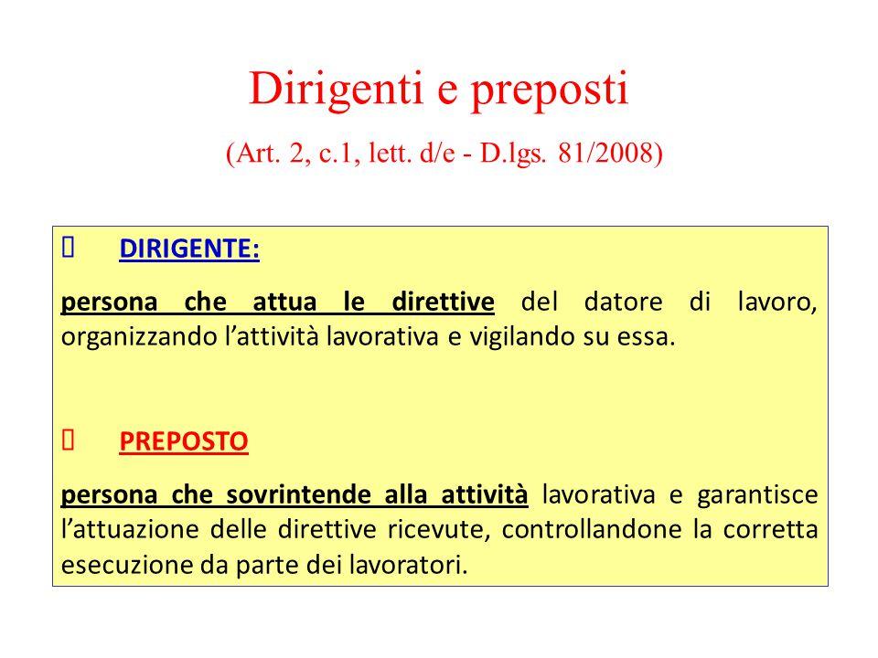 Dirigenti e preposti (Art. 2, c.1, lett. d/e - D.lgs. 81/2008)