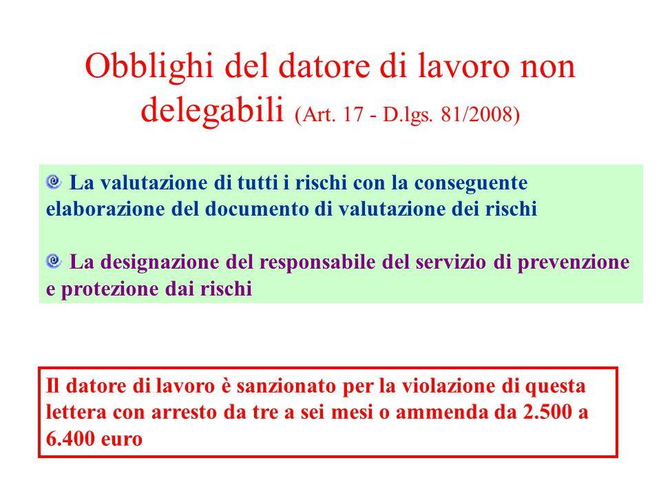 Obblighi del datore di lavoro non delegabili (Art. 17 - D. lgs