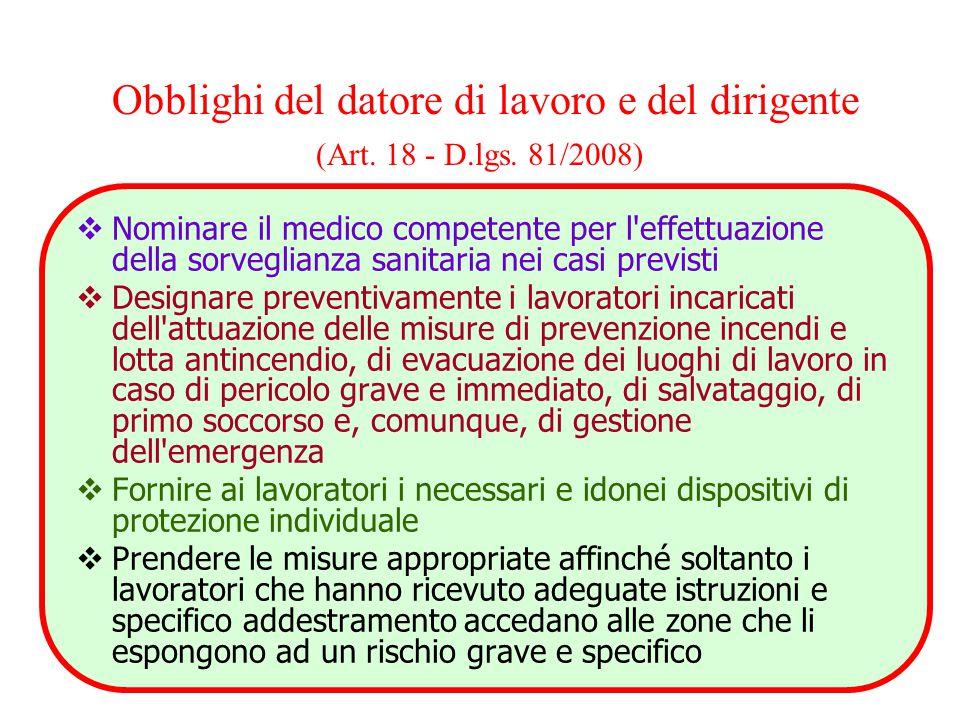 Obblighi del datore di lavoro e del dirigente (Art. 18 - D. lgs
