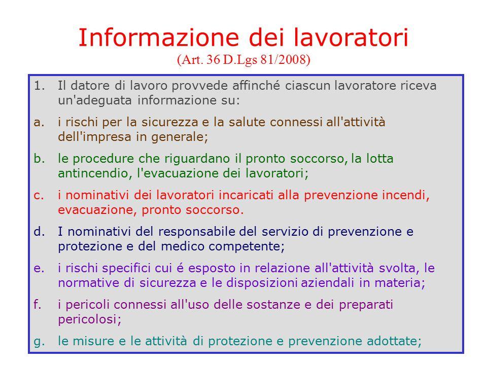 Informazione dei lavoratori (Art. 36 D.Lgs 81/2008)