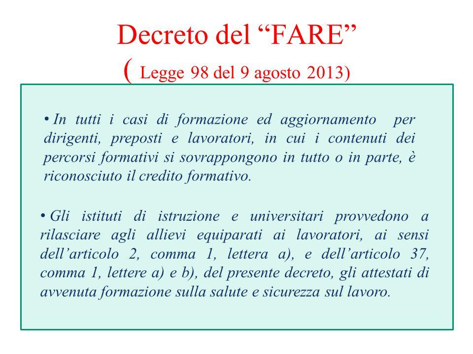 Decreto del FARE ( Legge 98 del 9 agosto 2013)