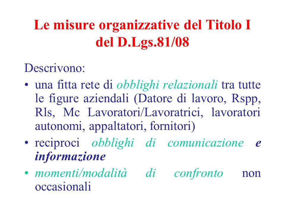 Le misure organizzative del Titolo I del D.Lgs.81/08