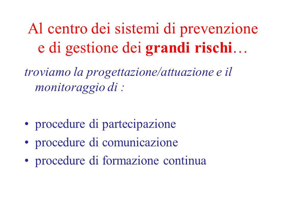 Al centro dei sistemi di prevenzione e di gestione dei grandi rischi…